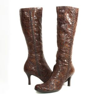 GIANNI BINI Brown Moc-Croc Pull-on High Heel Boots